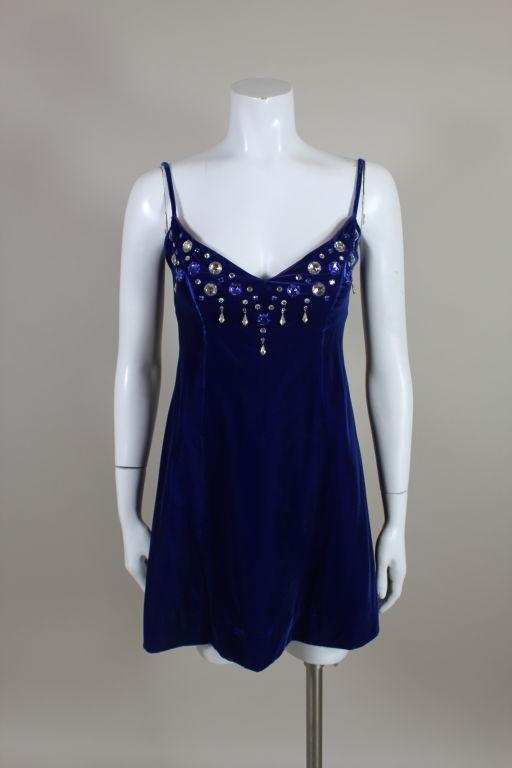 Paraphernalia 1960s Royal Blue Bejeweled Velvet Mini Dress 2