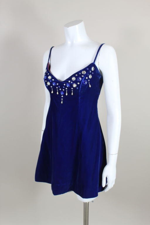 Paraphernalia 1960s Royal Blue Bejeweled Velvet Mini Dress 3