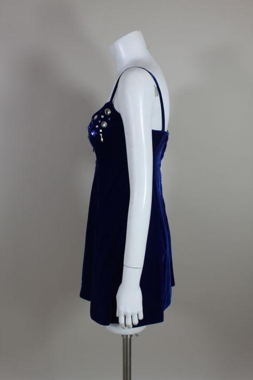Paraphernalia 1960s Royal Blue Bejeweled Velvet Mini Dress 4