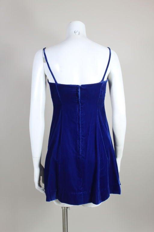 Paraphernalia 1960s Royal Blue Bejeweled Velvet Mini Dress 5