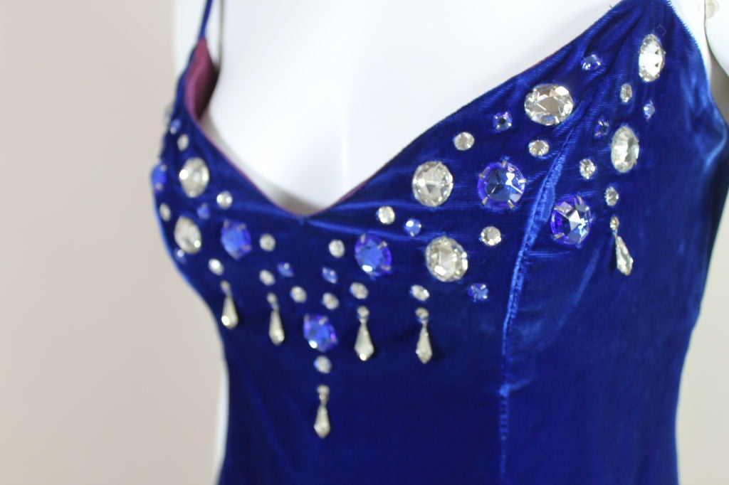Paraphernalia 1960s Royal Blue Bejeweled Velvet Mini Dress 7