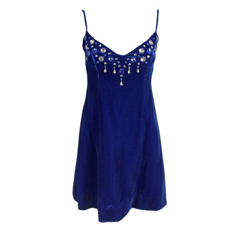 Paraphernalia 1960s Royal Blue Bejeweled Velvet Mini Dress 1