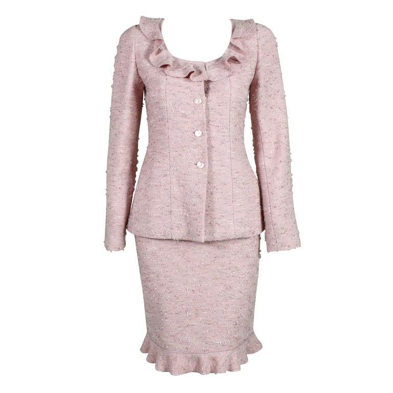 Chanel Pink Tweed Suit 1