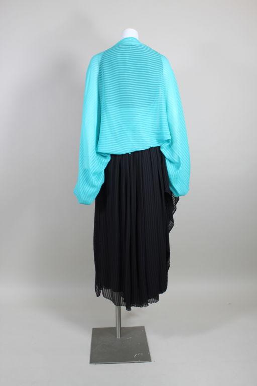 Halston Striped Crepe Chiffon Dress With Shrug At 1stdibs