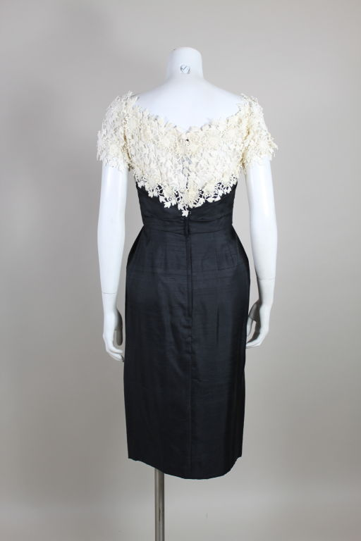 1950 S Ceil Chapman Silk Cocktail Dress With Floral Lace