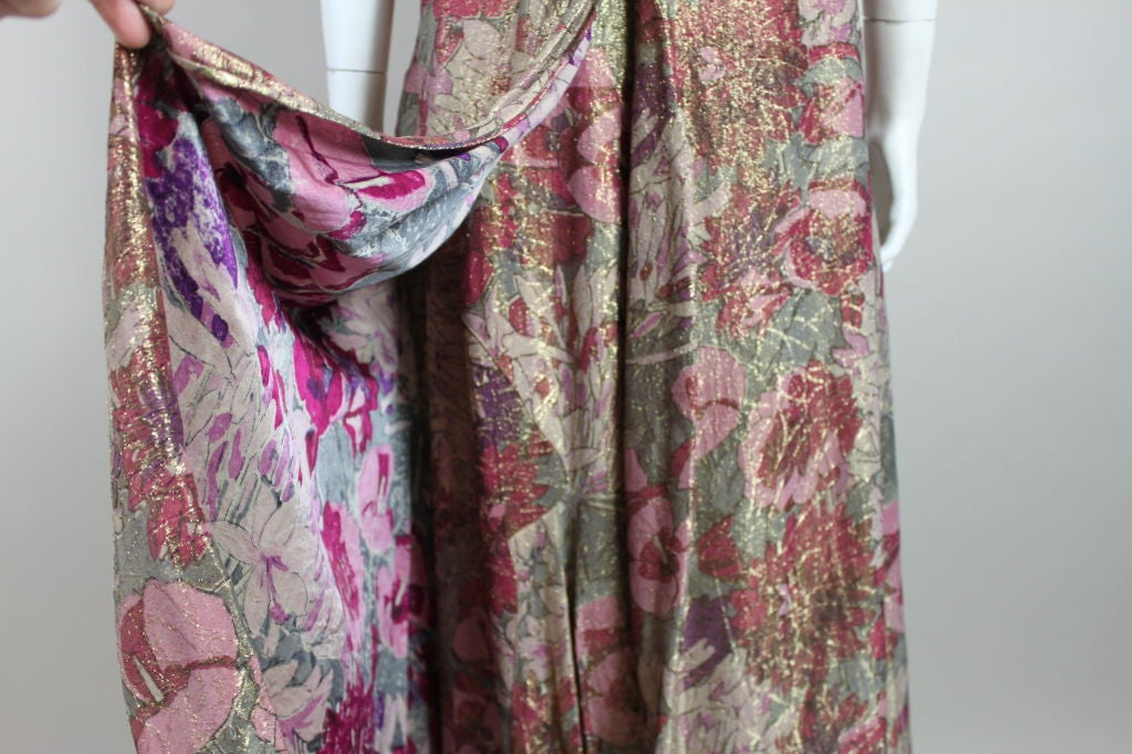 1930's Deco Floral Lamé Gown  10