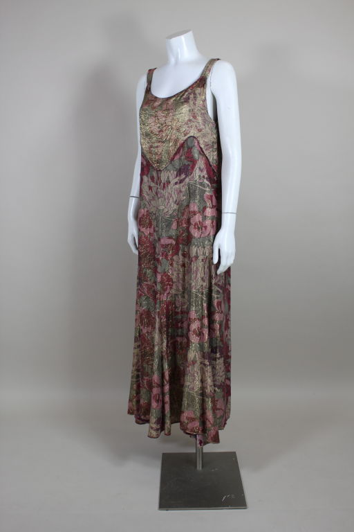 Gray 1930's Deco Floral Lamé Gown  For Sale