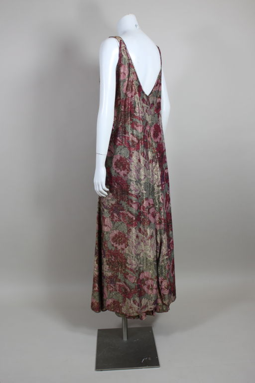 1930's Deco Floral Lamé Gown  In Excellent Condition For Sale In Los Angeles, CA