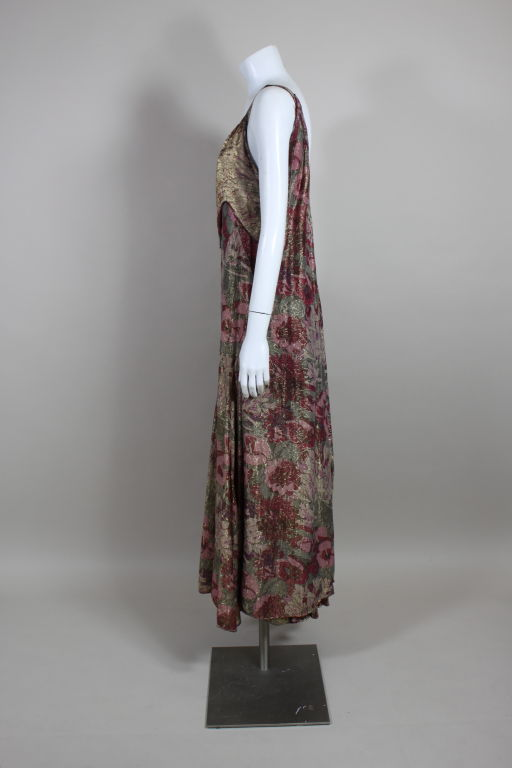 1930's Deco Floral Lamé Gown  5