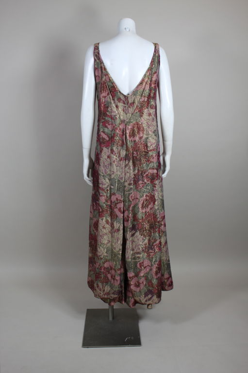 1930's Deco Floral Lamé Gown  For Sale 1