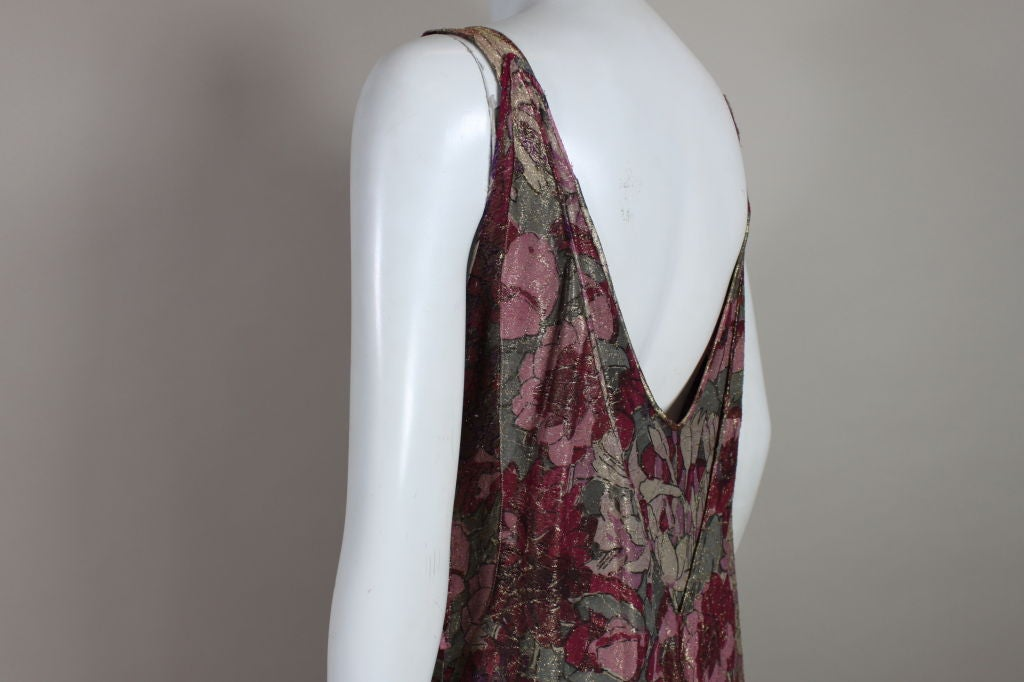 1930's Deco Floral Lamé Gown  For Sale 3