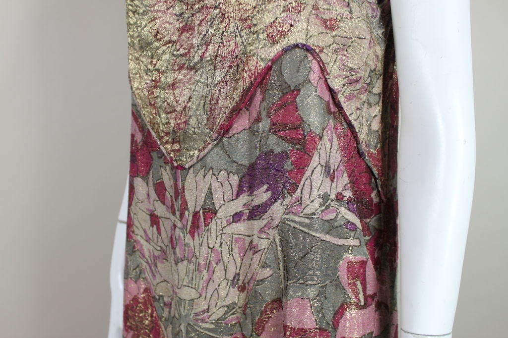 1930's Deco Floral Lamé Gown  For Sale 4