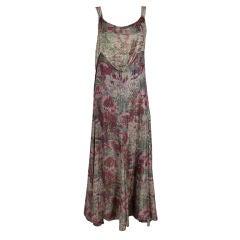 1930's Deco Floral Lamé Gown