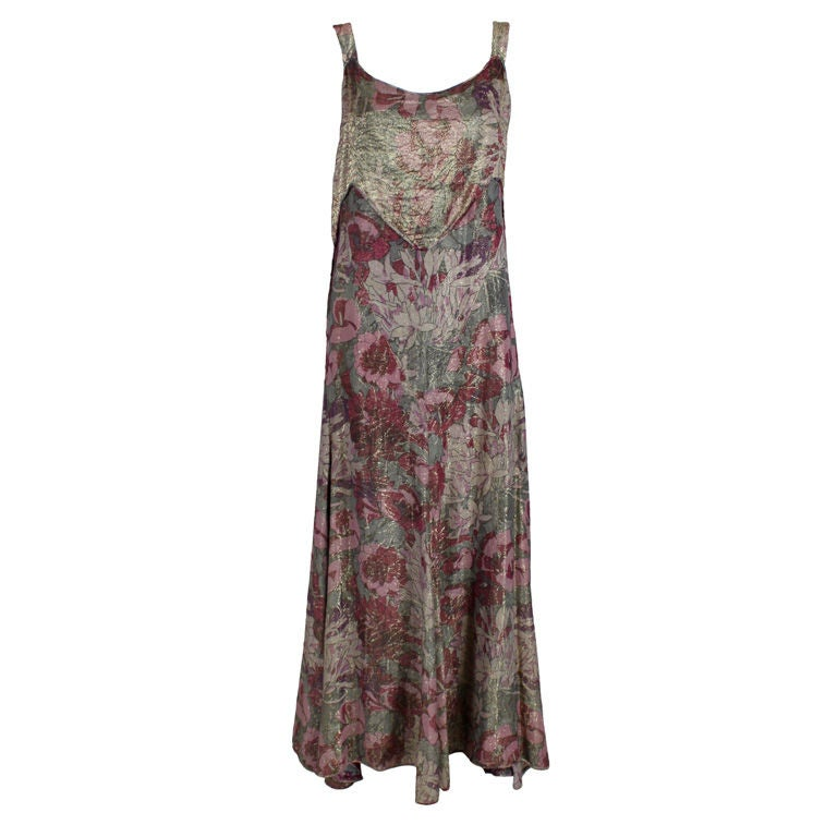 1930's Deco Floral Lamé Gown  For Sale