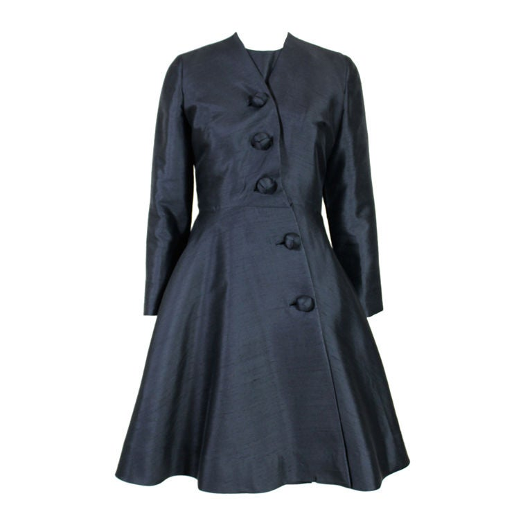 1960's Anne Fogarty Raw Silk Coat Dress at 1stdibs