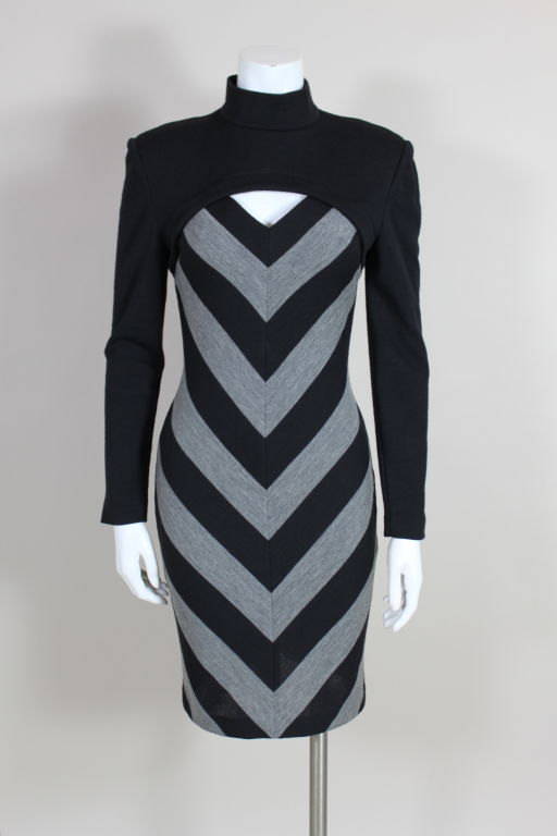 Patrick Kelly 1980s Peek-A-Boo Chevron Sweater Dress 2