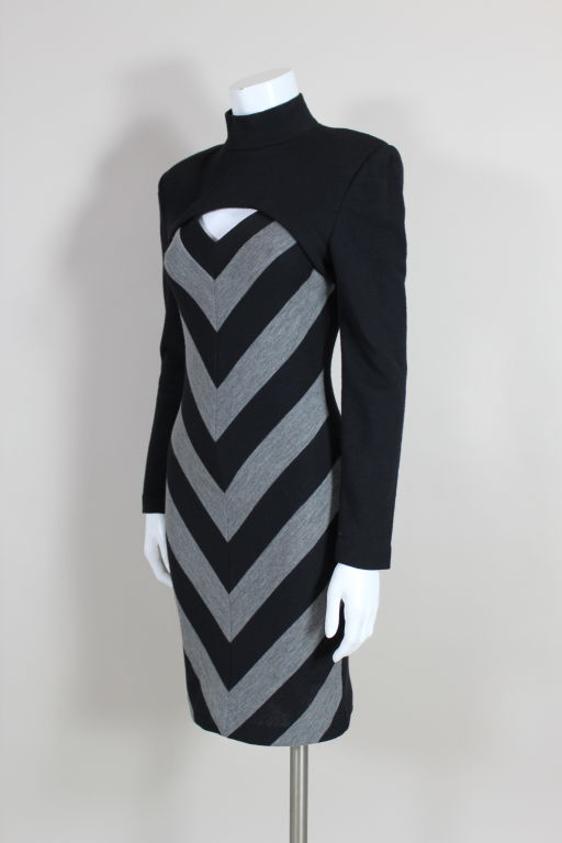 Patrick Kelly 1980s Peek-A-Boo Chevron Sweater Dress 3