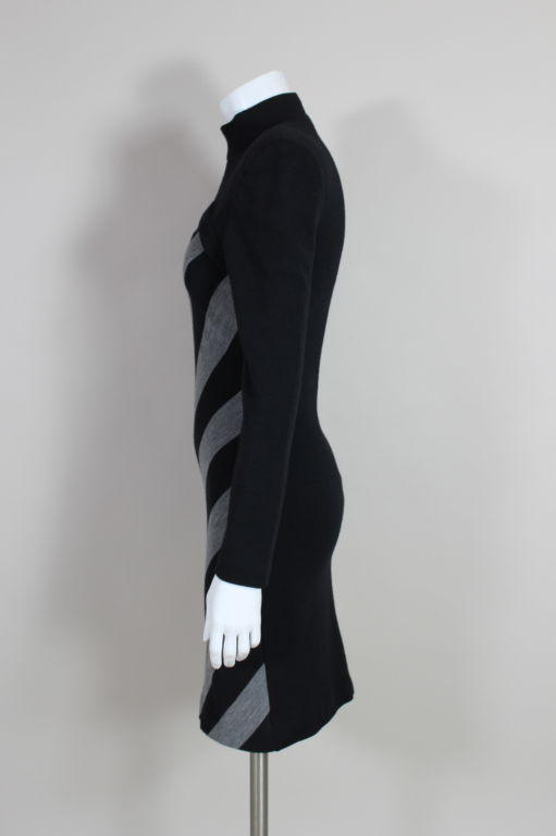 Patrick Kelly 1980s Peek-A-Boo Chevron Sweater Dress 4