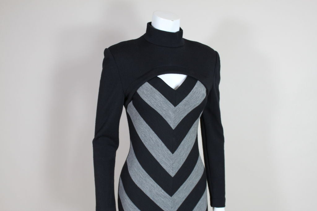 Patrick Kelly 1980s Peek-A-Boo Chevron Sweater Dress 7