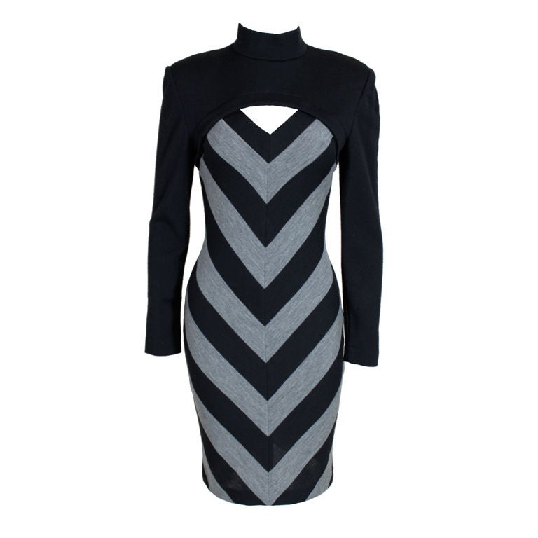 Patrick Kelly 1980s Peek-A-Boo Chevron Sweater Dress 1