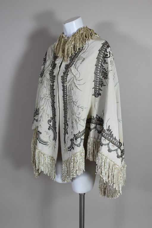 Victorian Embroidered Silk Twill Cape image 3