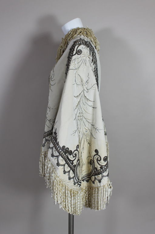 Victorian Embroidered Silk Twill Cape image 4