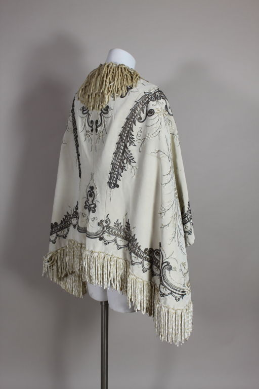 Victorian Embroidered Silk Twill Cape image 5