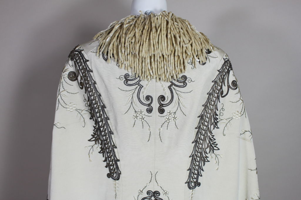 Victorian Embroidered Silk Twill Cape image 6