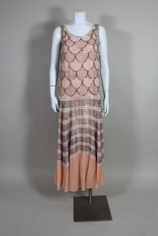 1920s Pink Embroidered & Beaded Fish Scale Gown 2
