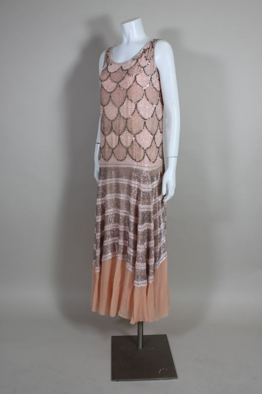 1920s Pink Embroidered & Beaded Fish Scale Gown 3