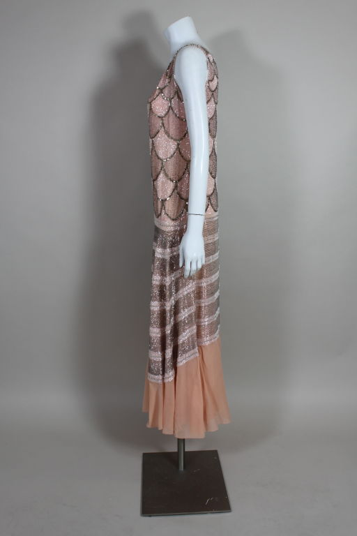 1920s Pink Embroidered & Beaded Fish Scale Gown 4