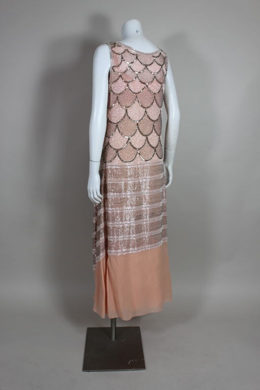 1920s Pink Embroidered & Beaded Fish Scale Gown 5