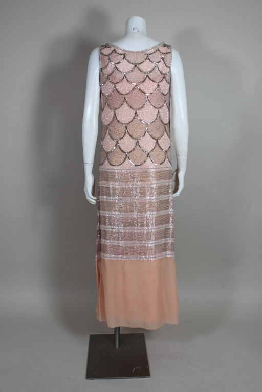 1920s Pink Embroidered & Beaded Fish Scale Gown 6