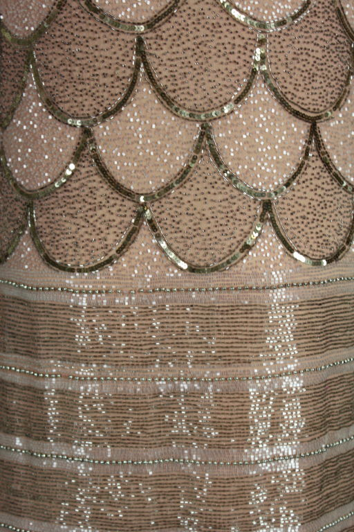 1920s Pink Embroidered & Beaded Fish Scale Gown 7