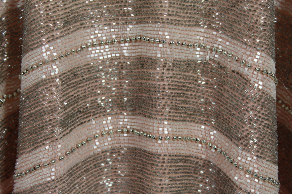 1920s Pink Embroidered & Beaded Fish Scale Gown 9