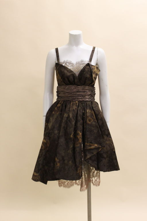 Christian Lacroix Silk Jacquard & Lamé Lace Party Dress 2