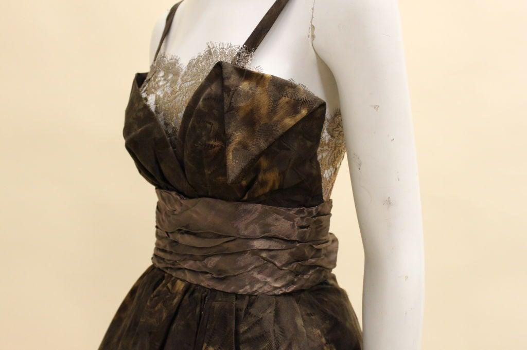 Christian Lacroix Silk Jacquard & Lamé Lace Party Dress 8
