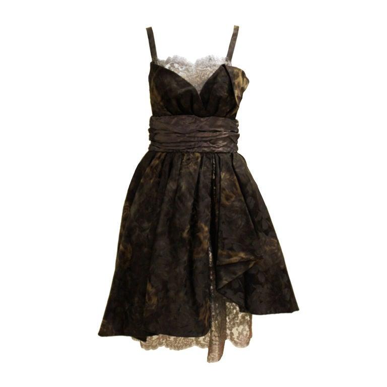 Christian Lacroix Silk Jacquard & Lamé Lace Party Dress 1