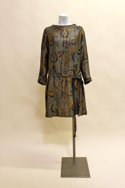 1920s Deco Paisley Silk Lamé Tunic Dress 2