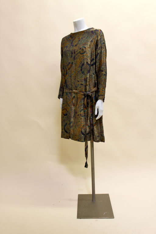 1920s Deco Paisley Silk Lamé Tunic Dress 3
