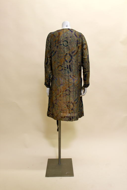1920s Deco Paisley Silk Lamé Tunic Dress 4