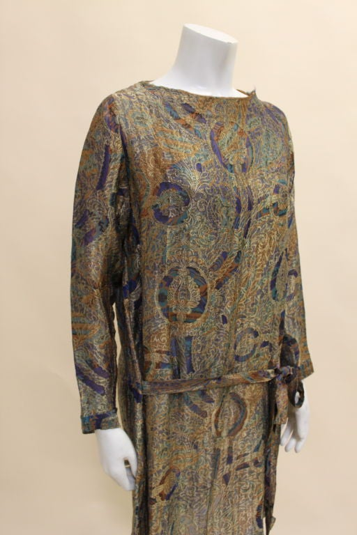 1920s Deco Paisley Silk Lamé Tunic Dress 5