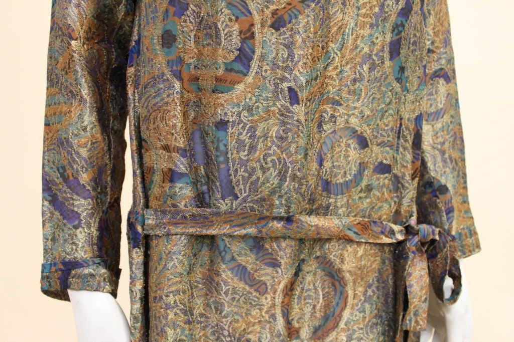 1920s Deco Paisley Silk Lamé Tunic Dress 6