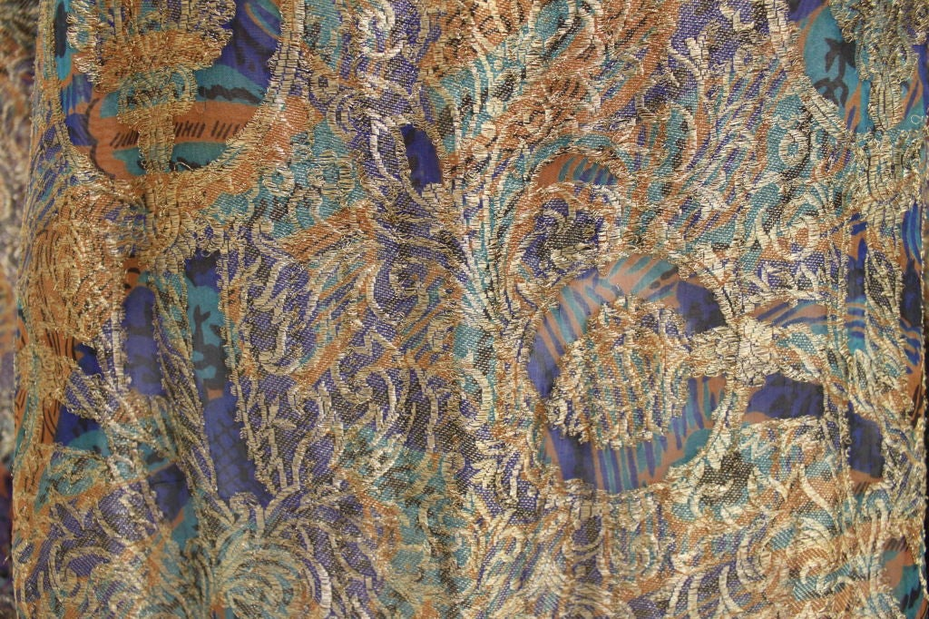 1920s Deco Paisley Silk Lamé Tunic Dress 7