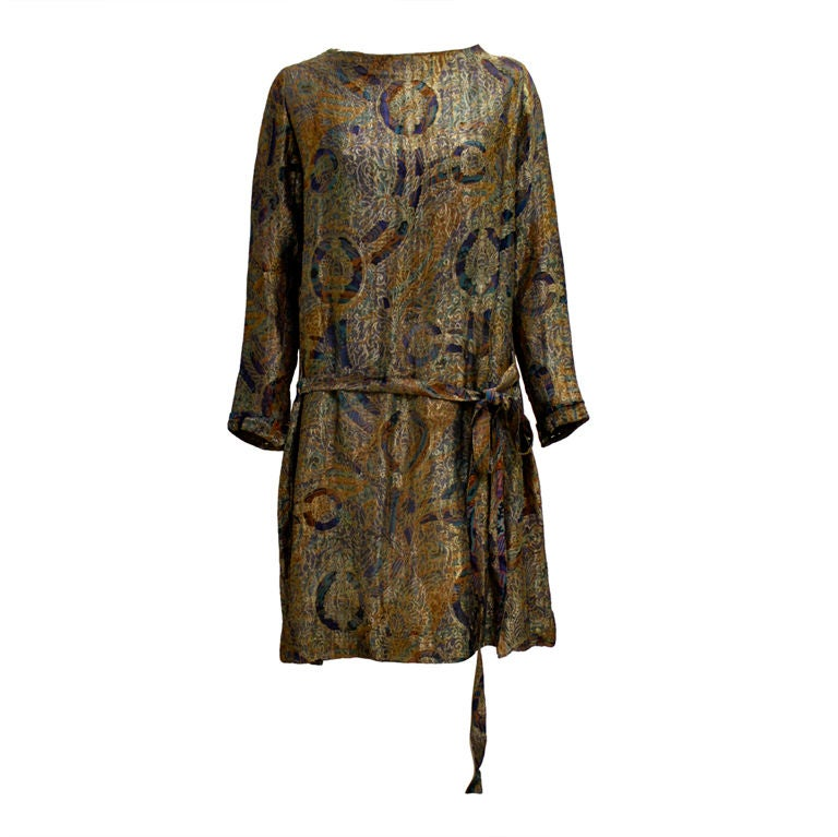 1920s Deco Paisley Silk Lamé Tunic Dress 1