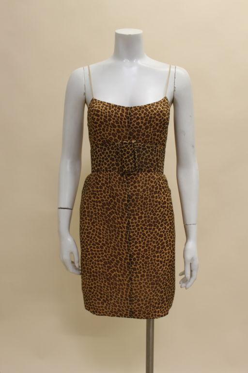 1960's Trigere Giraffe Print Silk Cocktail Dress 2
