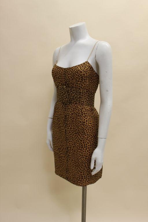 1960's Trigere Giraffe Print Silk Cocktail Dress 3