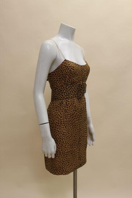 1960's Trigere Giraffe Print Silk Cocktail Dress 4