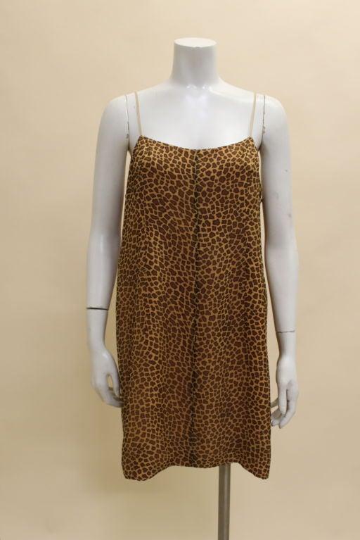 1960's Trigere Giraffe Print Silk Cocktail Dress 7
