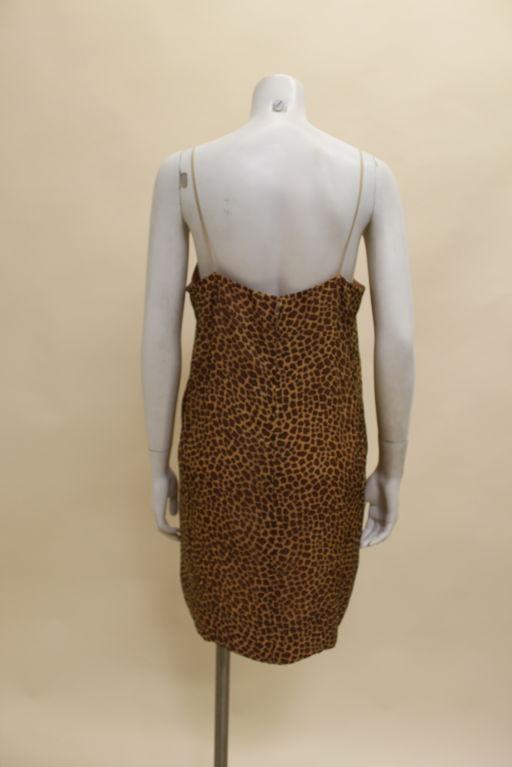 1960's Trigere Giraffe Print Silk Cocktail Dress 8